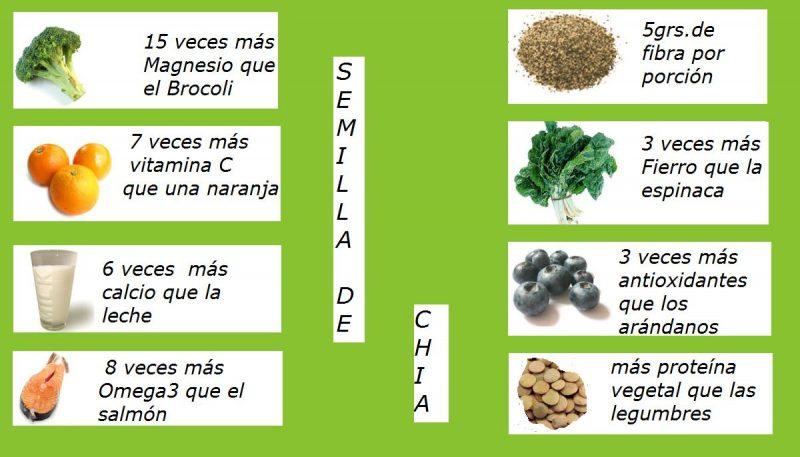 aporte nutricional de las semillas de chía